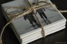 $0.17 tiles turned into photo coasters makes a great personalized gift!