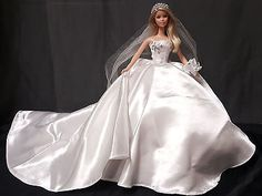 Barbie-Handmade-White-Long-Train-Tail-Brides-Wedding-Ball-Gown-Doll-Outfit-Veil