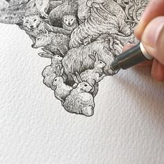 Creative artist Kerby Rosanes, an illustrator based in Manila, Philippines. Kerby Rosanes uses ink primarily in their drawings. For more drawings →View Website Ink Illustrations, Illustration Art, Surealism Art, Stippling Art, Illustration Techniques, Tinta China, Ink Pen Drawings, Pen Art, Creative Art
