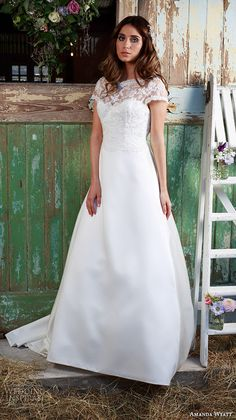 """Amanda Wyatt 2016 Wedding Dresses — Promises Of Love Bridal Collection   Wedding Inspirasi   """"Edeline"""" -- Very Pretty Lace & Satin A-Line Bridal Gown Featuring An Illusion Lace Bateau Neckline, Cap Sleeves, Lace Bodice, Illusion Lace Keyhole Back, Satin Skirt With Buttons Running Down The Court Length Train; (Front/Full View)××××"""