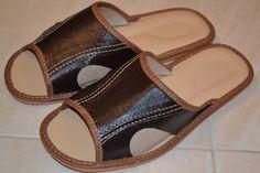 Mens Real Leather Dark Brown European Slippers