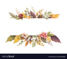 Watercolor vector autumn banner with roses and leaves isolated on white background. - Buy this stock vector and explore similar vectors at Adobe Stock Flower Background Wallpaper, Flower Backgrounds, Wallpaper Backgrounds, Motif Floral, Floral Border, Watercolor Flowers, Watercolor Art, Fall Banner, Free Vector Graphics