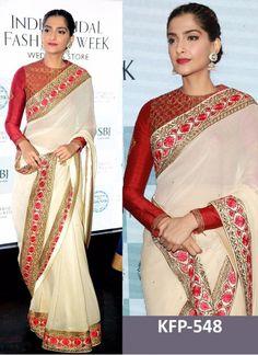 Sonam Kapoor White & Red Georgette Replica Saree