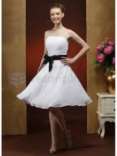 A-line Strapless Satin Chiffon Knee-length Wedding Dress