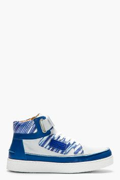 KENZO Blue Leather & Suede Kenyon Sneakers