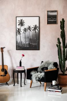 Bohemian home details - pink collage wall and 60's vintage chair | Photo by Stella Harasek  | www.stellaharasek.com
