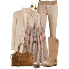 I like the different shades of tan together w/ a itty bitty amount of pretty pink. Also like the light colored boots.