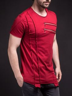 SAW Men Asymmetrical Zippers T-shirt - Deep Red -You can find Zippers and more on our website.SAW Men Asymmetrical Zippers T-shirt - Deep Red - Slim Fit Polo Shirts, Casual T Shirts, Men Casual, Short T Shirt, Destroyed T Shirt, Style Masculin, Mens Clothing Styles, Denim Fashion, Swagg