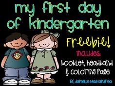 This freebie contains a headband to color, cut and place on a sentence strip on the first day of school, coloring page mini booklet. Kindergarten First Week, Welcome To Kindergarten, Kindergarten Coloring Pages, Welcome To School, Kindergarten Freebies, Kindergarten Classroom, Kindergarten Activities, School Classroom, Classroom Ideas