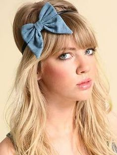 denim bow hair piece