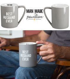 Man Made by Pavilion - Best Husband Ever Light Gray Ceramic 18 oz Coffee Mug - Anniversary Gift for Him or Birthday Gift for Husband