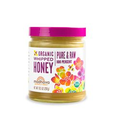 Maadhava | Organic Whipped Honey | Ingredient:  | 100% pure organic honey | Whipped honey super spreadable | From wildflower fields of Brazil | It is whipped until it is creamy smooth so it can be spread on bagel, toast, and waffles | Is 81% sugars | One tablespoon (21g) has 60 calories and 17g of sugars | #organic #glutenfree #organicsyrup #organicsweetener #honey #rawhoney #sweetener #madhava
