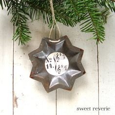 Rusty vintage star tart mold with sheet music - Christmas ornament #2. Now available in my Etsy shop Sweet Reverie: www.etsy.com/asweetreverie $5