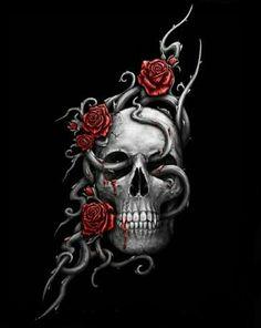 Red Rose Skull