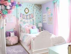 Unicorn bedroom - Sami Says AG & The Fancy Shack Girls Pastel Bedroom Room makeover Pastel Girls Room, Pastel Bedroom, Pastel Room Decor, Colorful Girls Room, Diy Room Decor For Girls, Pastel Walls, Tween Room Ideas, Mint Girls Room, Frozen Girls Room