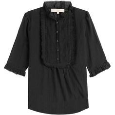 Vanessa Bruno Cotton Blouse (26.445 RUB) ❤ liked on Polyvore featuring tops, blouses, black, button front blouse, elbow length tops, ruffle neck blouse, black top and black ruffle top