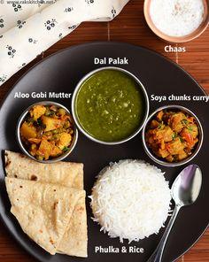 dal palak, phulka, chaas,soya chunks curry