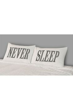 "Never Sleep Pillow Case Set by The Rise and Fall $16. These 200 thread count cotton pillow cases feature a hip and quirky screen print that adds instant personality. - Set of 2 - Color: Black and white - 30"" L x 20"" W (each) - Imported  This item does not ship to Australia due to customs restrictions or the nature of the product. Care Info Machine wash warm, tumble dry low Fiber Content 100% cotton"
