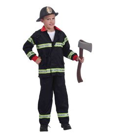 Black & Red Firefighter Dress-Up Outfit - Boys #zulily #zulilyfinds