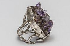 Silver ring with raw amethyst. Silver Jewellery, Jewelery, Silver Rings, Raw Amethyst, Brooch, Floral, Handmade, Design, Jewlery