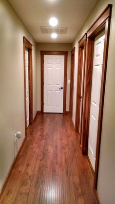 White Painted Doors With Stained Wood Trim Rustic Cozy Look For 2018 2019 Hallwayideas