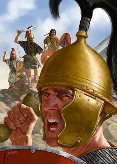 Iberian Ambush 130 BC Note the bronze helmet of the Roman soldier (foreground). Roman helmets would be made of iron by the late first century AD, and they plume in the helmet - a vestige of early iron-age warfare - would be abandoned far earlier. Iron Age, Ancient Rome, Ancient History, Ancient Greece, Fall Of Constantinople, Roman Helmet, Punic Wars, Roman Legion, Roman Era