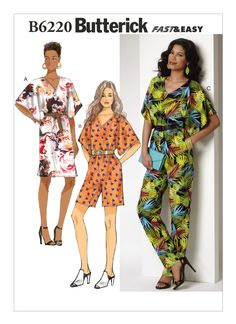 B6220 | Misses' Surplice-Back Dress and Jumpsuit Sewing Pattern | Butterick Patterns