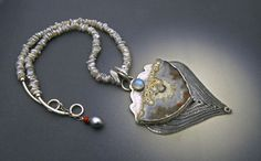 Crazy Lace Agate pendant by Vaasvara Jewelry.  Moonstone, Keishi pearls, Fine silver, Sterling silver and Lace Agate