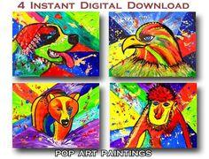 #PopArt #Paintings #InstantDownload #DigitalPrints   #BearPainting #EaglePainting #St.BernardDog #MonkeyPainting #SmallPaintings #PrintableArt #Kidsroomart #HomeDecor by #JuliaApostolova Bear Paintings, Small Paintings, Eagle Painting, Digital Prints, Digital Art, Bernard Dog, Kids Room Art, Printable Art, Pop Art