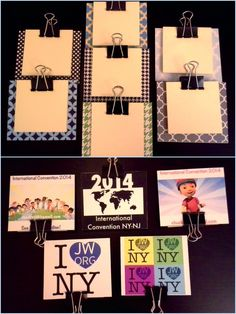 "Post it note clipboard gift project I did with my wife for the 2014 International Convention in East Rutherford, NJ.  We used 1/8"" hardboard, and glue sticked an image to the back, and a pattern to the front.  Attached post-it notes with a binder clip.  These are for the guys.  My wife's for girls have ribbon bows on the clip, and have different patterns and colors."