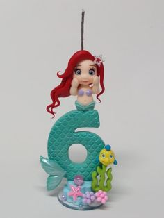 Fondant Cake Toppers, Fondant Icing, Fondant Figures, Cupcake Cakes, 6th Birthday Cakes, Under The Sea Theme, Mermaid Cakes, Ariel The Little Mermaid, Cold Porcelain