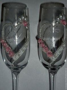 """Купить Свадебные бокалы """"Светлана"""" - бледно-розовый, свадебные бокалы, бокалы для свадьбы, бокалы для молодоженов"""