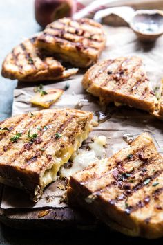 Grilled cheese kind of Saturday night 🍑This. Sometimes you just need a melty grilled cheese, you do. Recipe is on HBH (honey, peach, and Brie panini) Bacon And Butter, Good Food, Yummy Food, Tasty, Cheese Burger, Most Delicious Recipe, Half Baked Harvest, Comfort Food, Wrap Sandwiches