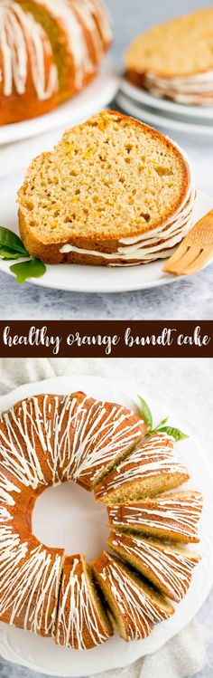 Healthy Orange Bundt Cake Recipe -- only 123 calories & made from scratch! It's moist, tender & full of flavor! I wasn't a fan of orange-flavored cakes until I tried this recipe... And now I'm OBSESSED! ♡ easy orange bundt cake. orange bundt cake with orange glaze. moist orange bundt cake. greek yogurt orange bundt cake. sugar free healthy orange cake. healthy greek yogurt orange cake. best orange bundt cake. #healthyrecipes #cleaneating