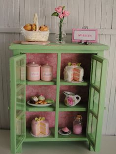 Miniature Green Shabby-Chic Kitchen Cabinet Filled With Cakes, Canisters, And Lots Of Goodies!