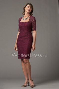 wine knee length sheath lace mother of the bride dress with scalloped hem