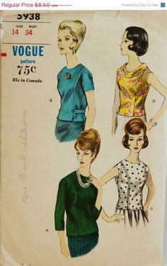 "Vintage 1960s Vogue Misses' Blouse Pattern 5938 Size 14 (34"" Bust)"