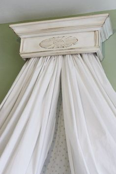 Beautiful Antiqued White distressed Bed Crown