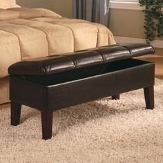 "Coaster Button-Tufted Design Storage Bench, Brown Leatherette by Coaster Home Furnishings. $123.34. 41.5""L x 17.5""W x 19""H. Bedroom. Some assembly may be required. Please see product details.. Button-Tufted Design Brown Leatherette Storage Bench. Dimensions: 41.5""L x 17.5""W x 19""H. Finish: Deep Brown. Material: Leatherette. Button-tufted Design Storage Bench. This storage bench features a single trim row of button-tufted detailing. Its durable leatherette in deep brown has w..."