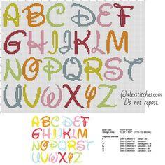 Disney colored font letters cross stitch free alphabet - free cross stitch patterns by Alex