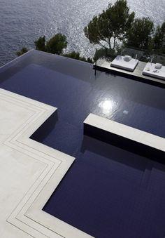 Dark blue and white concrete