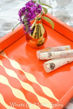 Upcycled Tray with paint and stripes