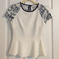Sugarlips Peplum Lace Blouse No tags but never worn! In mint condition! Sugarlips Tops Blouses