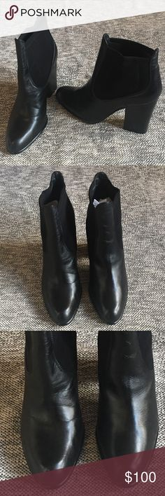 """Stuart Weitzman Black Ankle Boots Classic Stuart Weitzman Ankle Booties.  Black Leather with elastic stretch panel.  Round toe. Chunky heel. Size10 M. Some signs of wear & creasing in leather.  Great used condition.  11"""" circumference around. 4.5'' heel height. Stuart Weitzman Shoes Ankle Boots & Booties"""