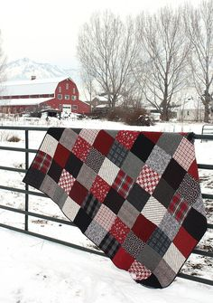 "Black and Red plaid flannel quilt - Love this. She used 9"" squares to make the blocks"
