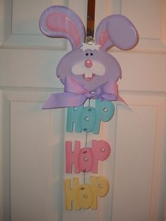 Items similar to Hop Hop Hop Easter Bunny door/wall hanger on Etsy Easter Gifts For Kids, Easter Crafts, Crafts For Kids, Easter Stuff, Easter Decor, Custom Woodworking, Woodworking Projects Plans, Easter Paintings, Pintura Country