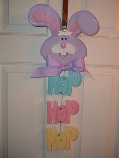 Hop Hop Hop Easter Bunny door/wall hanger