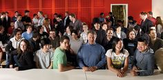 Paul Graham flanked by Y Combinator entrepreneurs