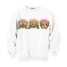Monkeys in flower crowns emoji sweatshirt