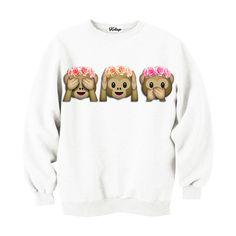 Monkeys in flower crowns emoji sweatshirt